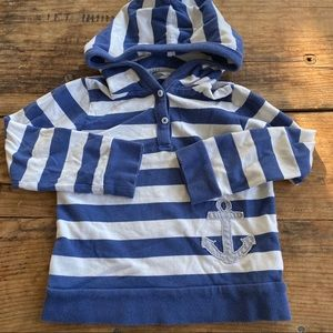 Baby Boden 3-4Y Blue Striped Anchor Hoodie